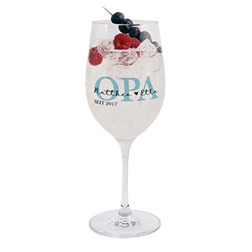 Herz & Heim® Leonardo Weinglas mit Aufdruck - Geschenk für Opa - Idee Geburtstagsgeschenk