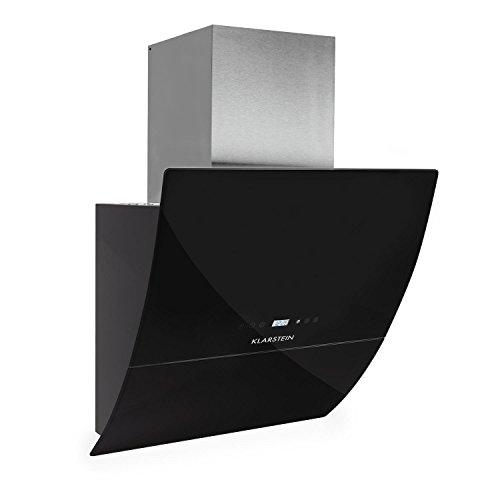 Klarstein Annabelle Eco 60 Campana extractora de pared - 60cm, Clase energética A, Función Aspiración/Ventilación, 3 Niveles potencia, 650 m³/h, Mando a distancia, Control táctil, LED, Negro