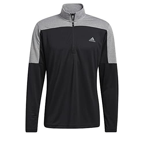 adidas Golf Mens 2021 1/4 Zip UPF ligero pecho izquierdo logo elástico suéter, Hombre, Mezcla negra., M