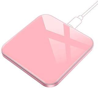 ワイヤレス充電器 ピンク AGPTEK Qi 急速 15W/11W/10W/5W 薄型0.5cm Type-C 置くだけ充電 15W高出力 超薄型(7.8*7.8*0.5cm)ガラス・アルミ合金製 安全多重保護 小型 軽量 iPhone SE/...