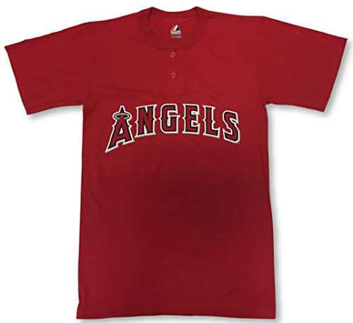 Majestic Los Angeles Angels Two-Button Men's Jersey T-Shirt 3X