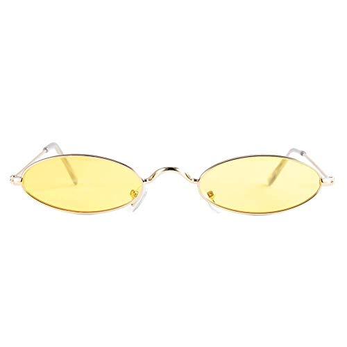 FastUU Óculos de sol femininos, estilo vintage, oval, óculos de sol com lentes transparentes com almofadas de nariz leves para dirigir, equitar, viajar, ar livre, esportes (amarelo)