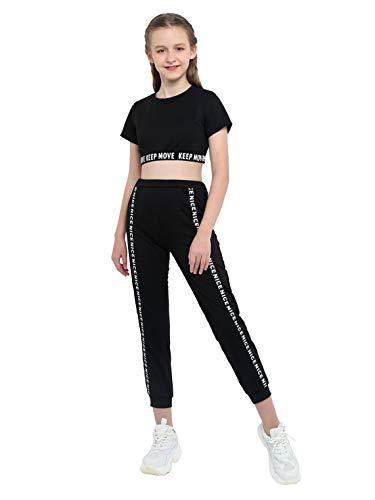Doomiva Ensemble Sport Décontractée Enfant Fille T-Shirt Corp Tops de Fitness Haut de Danse Jazz Legging Pantalon Survêtement D'été 2 Pièces Imprimé Lettre Streetwear 4-14 Ans Noir 12 Ans