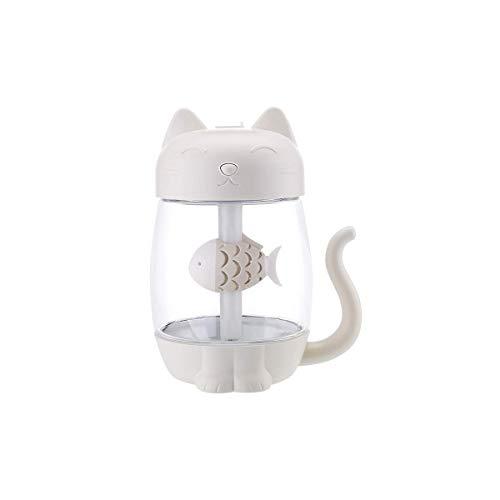 Xiaodong1 Humidificador de plástico de gran capacidad ultrasónico Cool-Mist portátil adorable gato humidificador luz LED 350 ml sala de estar dormitorio oficina dormitorio evaporador hogar coche (púrp