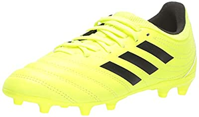 adidas Unisex-Kid's Copa 19.3 Firm Ground Soccer Shoe, Solar Yellow/Black/Solar Yellow, 4 M US Big Kid
