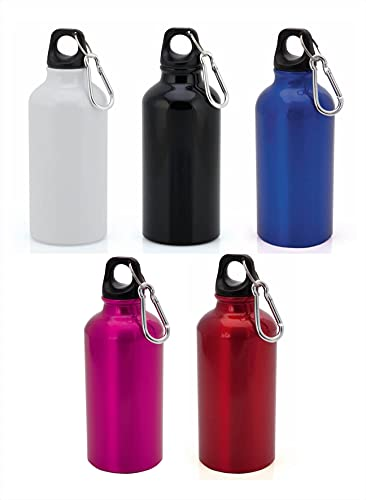 Botella de Agua Aluminio Personalizada con Nombre, Logo o Foto. Bidón Buena Capacidad 400 ml. con mosquetón.