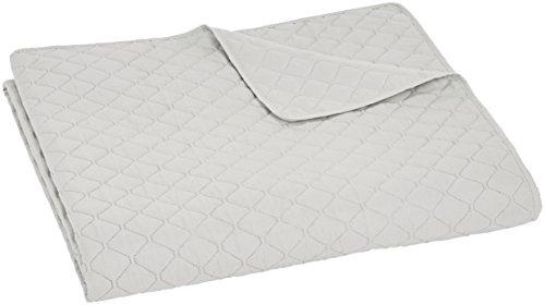Amazon Basics – Colcha labrada extragrande, Blanco, diamante, 240 x 260 cm