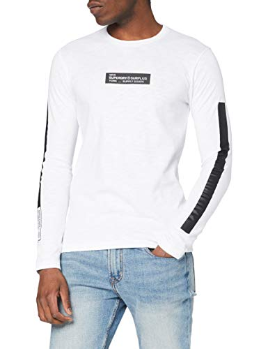Superdry Surplus Goods LS Top Camisa Manga Larga, Blanco (Optic 01c), L para Hombre