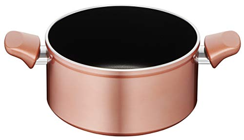 Lagostina Ramata Casseruola Fonda a 2 maniglie Esterno Effetto Rame, Alluminio Antiaderente, diametro 20 cm, nero