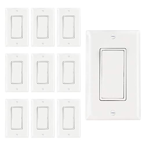 AbboTech Light Switch With Wall Plates Included,Decorative ON/OFF Wall Switch Single Pole,15A,120-270V,Residential&Commercial Grade,10 Pack,UL Listed,White (single pole)