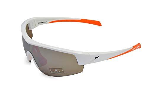 Gamswild Sonnenbrille WS2436 Sportbrille Skibrille Damen Herren Fahrradbrille Unisex | blau | schwarz | weiß, Farbe: Weiß