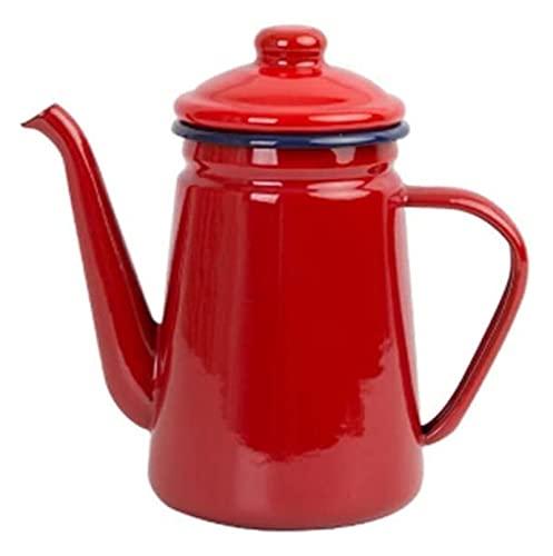 Kettle Kettles 1.1 L Pote de la casa japonesa con tapa Hombre de la mano Café de café Cocina Pote de aceite Hervir agua (Color : Red, Size : 1.1L)