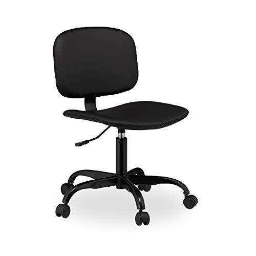 Relaxdays bureaustoel met wieltjes, in hoogte verstelbaar, comfortabele bureaustoel, van kunstleer, H x D: 88 x 60 cm, zwart