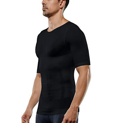 Generic Men's Compression Shirt Short Sleeve Tank Top Body Shaper Slimming T-Shirt Athletic Sports Base Layer Top Running Shaperwear (Black, L)