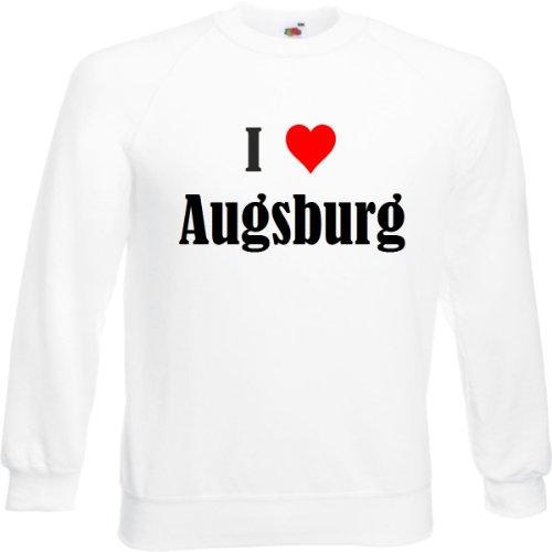 Reifen-Markt Sweatshirt I Love Augsburg Größe 2XL Farbe Weiss Druck Schwarz