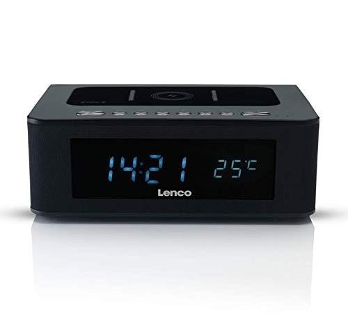 Lenco CR-580 Uhrenradio - Radiowecker mit Bluetooth - QI Wireless Ladestation - NFC, USB und Temperaturanzeige - Schwarz
