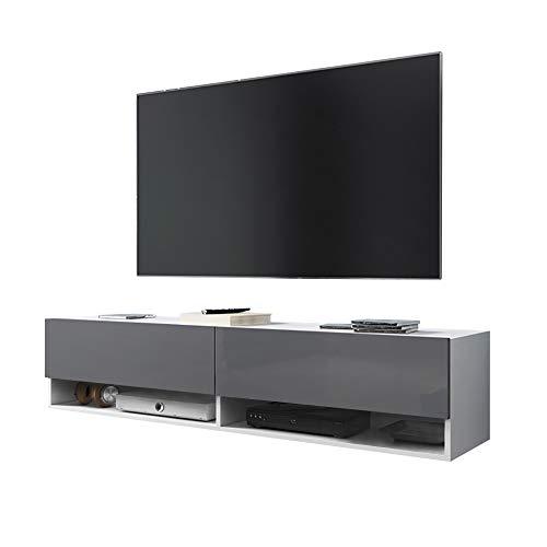 Selsey Wander - Mueble TV Suspendido/Mesa TV/Mueble para Salón (140 cm, sin LED, Blanco/Gris Brillante)