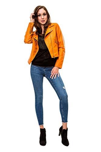 ONLY Damen Bikerjacke Kunstlederjacke Übergangsjacke Blouson Casual (XS, Marmalade)