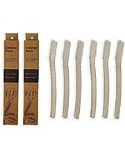 TAMETZONA 6 Cuchillas profesionales ECO reciclables de depilar cejas vello facial rasuradora cejas de trigo endurecido, eyebrow razor