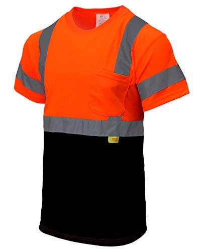 New York Hi-Viz Workwear NY BFS8511 High-Visibility Class 3 T Shirt with Moisture Wicking Mesh Birdseye, Black Bottom (Medium, Orange)