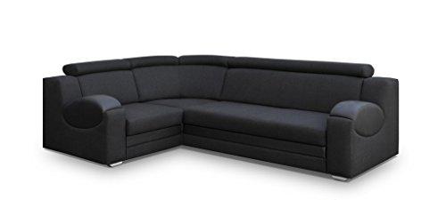 Canapé d'angle 4 places Noir Tissu Confort