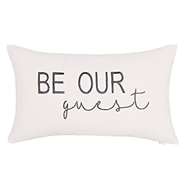DecorHouzz Be Our Guest Embroidered Pillow Cover Pillow Cases Throw Pillow Decorative Pillow Wedding Birthday Anniversary Gift 12 x20  (Ivory)