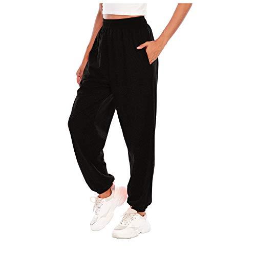 SHOBDW Pantalones de Mujers Tallas Grandes, Anchos con lanura Abocinado Anchos Pierna Cintura elástica de Cintura Alta Pantalones de Mujer (2XL, Negro)