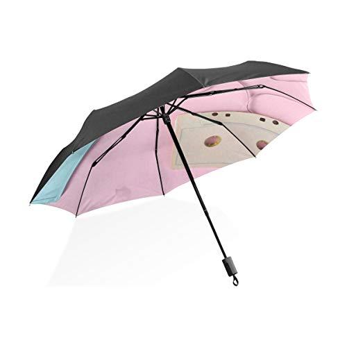 Paraguas para Niños Amor Corazón Cinta de Casete Portátil Compacto Paraguas Plegable...