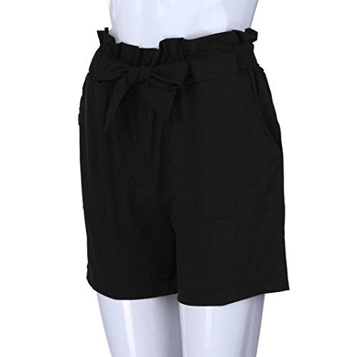 Spbamboo Women Pure Color Pocket High Waist Bandage Easy Elastic Short Pants