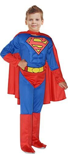 Ciao-Superman Costume Bambino Originale DC Comics (Taglia 3-4 Anni) con Muscoli pettorali Imbottiti, Colore Blu/Rosso, 11699.3-4