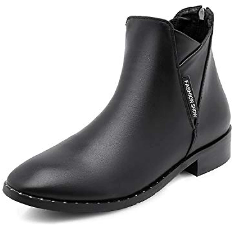 HRCxue Pumps Flache Stiefel, vielseitige Damenstiefel, niedrige niedrige niedrige Absatzstiefel, warme Buchstaben, Mattschwarz, 38 ba28d8