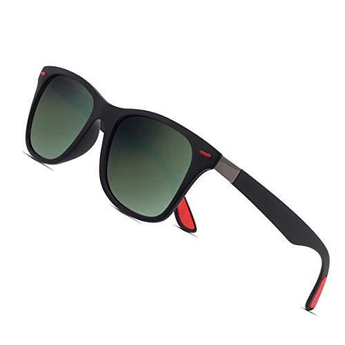 Sunmeet Gafas de Sol Polarizadas Hombre Mujere para Conducir Deportes100% Protección UV400 Gafas para Conducción(Verde/Negro)