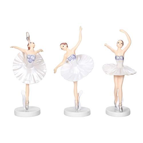 Garneck 3 stücke Ballerina mädchen balletttänzer Statue Figuren Ornamente kuchendeckel Weihnachten Geburtstagsparty bevorzugt Geschenke für tänzer (weiß)
