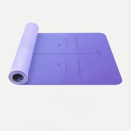 6 mm dick Yoga-Matte Anti-Rutsch-Gymnastikmatte Pad Compact Leicht for Privatanwender Gymnastik-Training, Reisen, Frauen und Männer mit Tragegurt und Netztasche for Home Gym Fitness Workout Pilates