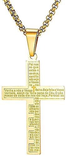 Yiffshunl Halskette Kragen Mode Klassische Persönlichkeit Männer Frauen Modern Pop Latin Spanier Bibel Vater Unser Kreuz Anhänger Halskette