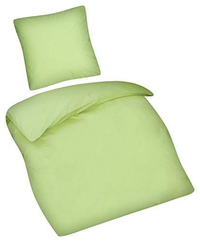 Aminata Kids - Kinder-Bettwäsche-Set Uni Apfel-Grün 135-x-200-cm Frauen, Mädchen, Jugendliche - einfarbige Teenager-Bettwäsche - Baumwolle - Marken-Reißverschluss & Öko-Tex