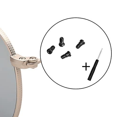 Ray-Ban RB3025 眼鏡用ねじ サングラス用ねじ 修理ツール ネジ ナット (4個セット),ドライバー付き (ブラック)