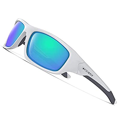 TOREGE Polarized Sports Sunglasses For Man Women Cycling Running Fishing Golf TR90 Unbreakable Frame TR011 -Upgrade (White&Green Lens)