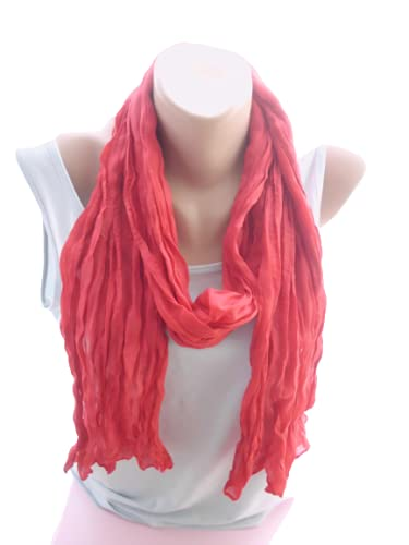Red Crinkle Scarf Max 63% OFF Long Shawl Christmas Accessories Women G Excellent