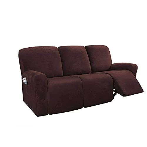 YWTT Stretch Recliner Schonbezug für 1 2/3 Sitz Liege, Samt Sofabezug für Recliner Möbel Protector für Haustier Kinder-Hellbraun-Sofa (8 PCS)