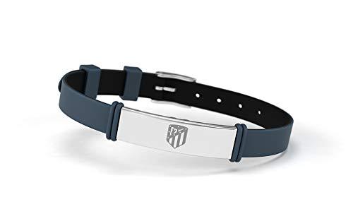 Atlético de Madrid Pulsera Fashion Azul Grisáceo Ajustable para Hombre, Mujer y Niño | Pulsera de Silicona y Acero Inoxidable | Apoya Producto Oficial Colchonero | ATM