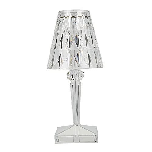 FENGCHUANG Lámpara de Mesa de Diamante Acrílico Lámpara de Cristal Transparente de Carga USB Luz Nocturna Decorativa para El Dormitorio Sala de Estar Oficina Mesa de Centro (Luz blanca)