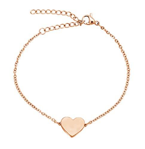 Nuoli® Damen Armband Herz Rosegold (15 + 5cm verstellbar) filigranes Herz Armkettchen für Frauen und Mädchen