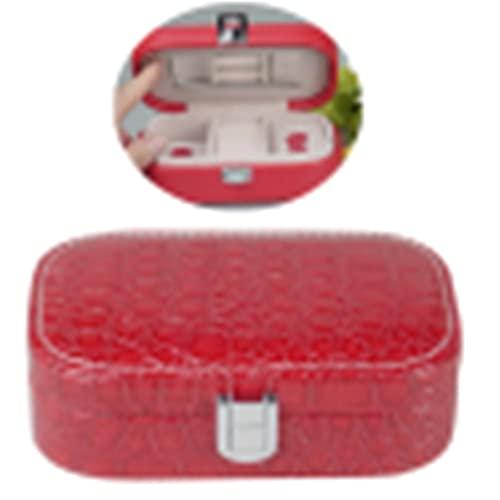 LYsng Cajas y organizadores de Joyas joyero Viaje Joyería de Encanto de Caja Pulsera Caja de Almacenamiento Pendiente de la Caja de Almacenamiento Stone Pattern Red