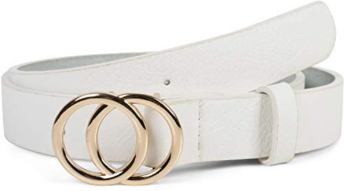 styleBREAKER Cinturón de dama unicolor con hebilla de anillo, cinturón de cadera, cinturón de cintura, cinturón sintético, unicolor 03010093, tamaño:80cm, color:Blanco-Oro