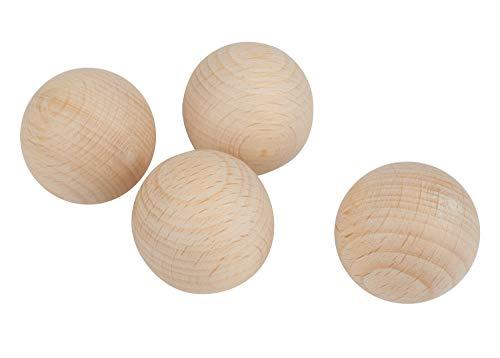 Rayher 6252500 Rohholz-Kugeln, ungebohrt, 30 mm ø, 4 Stück, Buchenholz, Holzkugeln ohne Loch, zum Basteln und Bemalen