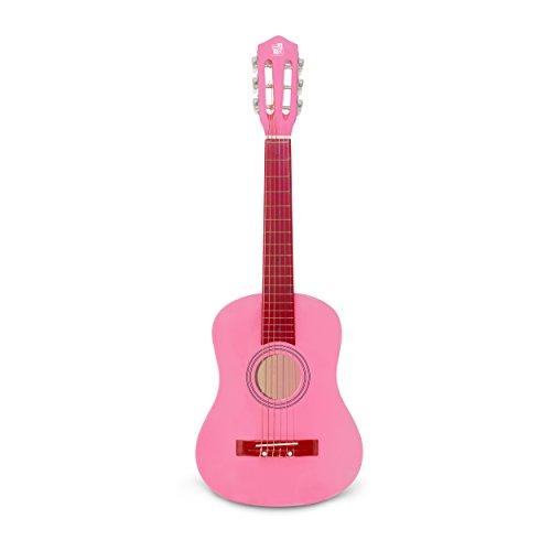 Concerto 701208 gitaar voor kinderen, 75 cm, houten gitaar voor beginners, houten gitaar om te leren, beginnersgitaar voor kinderen vanaf 4 jaar, concertgitaar om te oefenen, roze
