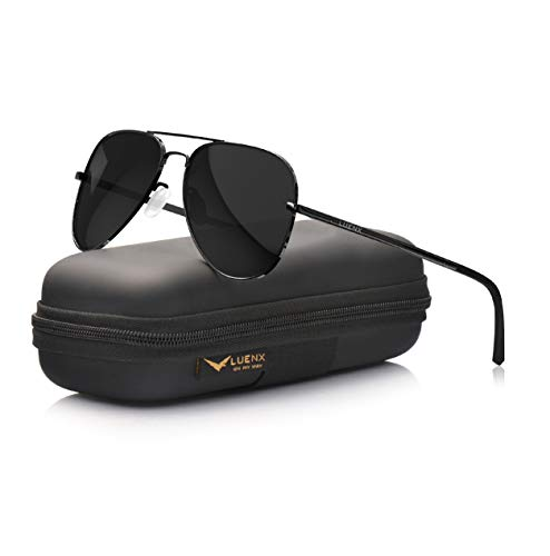 LUENX Aviator Sunglasses Polarized Mens Womens Black Lens Black Metal Frame Large 60mm