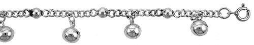Cavigliera in argento Sterling con perline e sfere di campanelli