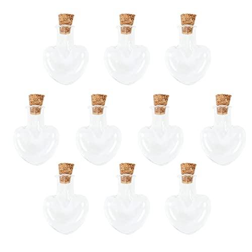 Milisten 10 Unidades Pequeñas Mini Frascos de Vidrio Botella con Tapón de Corcho en Forma de Corazón Pequeña Botella a La Deriva de Los Deseos para El Proyecto de Manualidades de